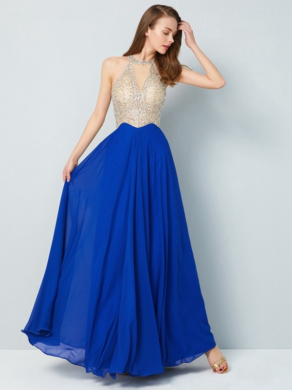 Befits Your Brilliance Princess Style Scoop Floor-Length Crystal Chiffon Dresses