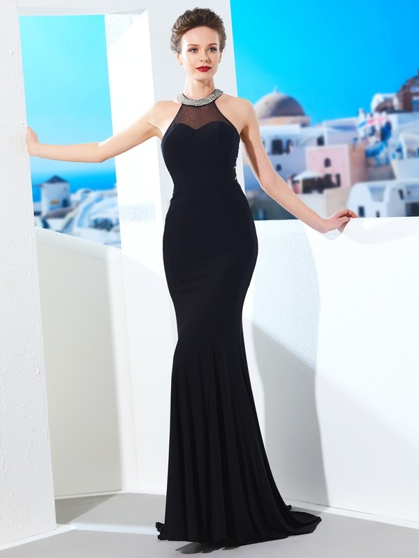 Absolute Lovely Sheath Style Jewel Beading Spandex Sweep/Brush Train Dresses