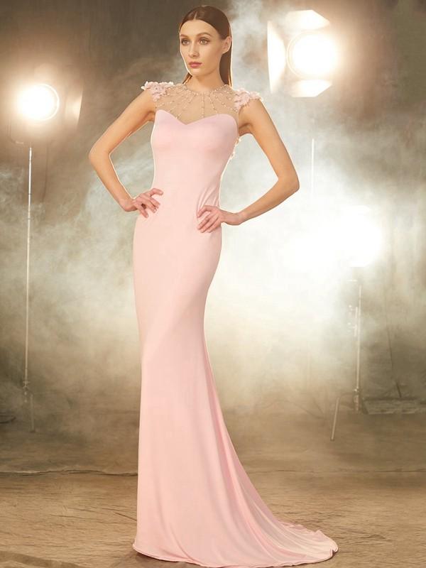 Chic Chic London Mermaid Style Jewel Sweep/Brush Train Beading Spandex Dresses