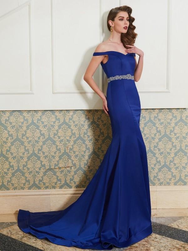 Treasured Reveries Mermaid Style Off-the-Shoulder Crystal Sweep/Brush Train Satin Dresses