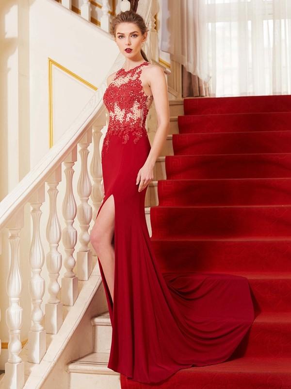 First Impressions Sheath Style Jewel Applique Sweep/Brush Train Spandex Dresses