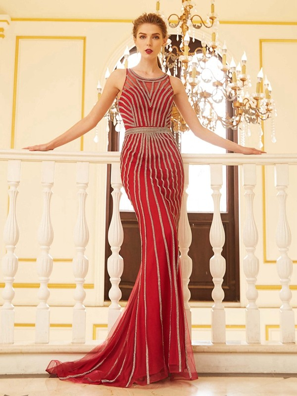 Confident Option Sheath Style Scoop Beading Net Sweep/Brush Train Dresses