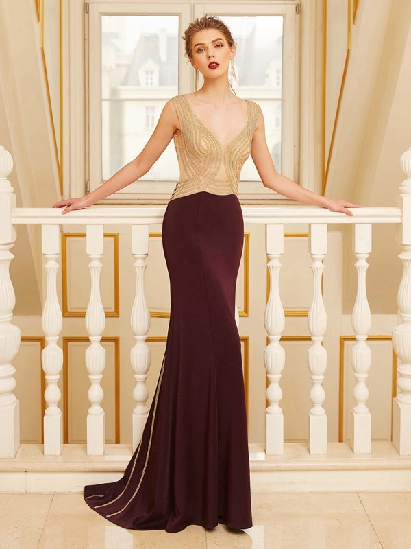 Fabulous Fit Sheath Style Straps Beading Sweep/Brush Train Jersey Dresses