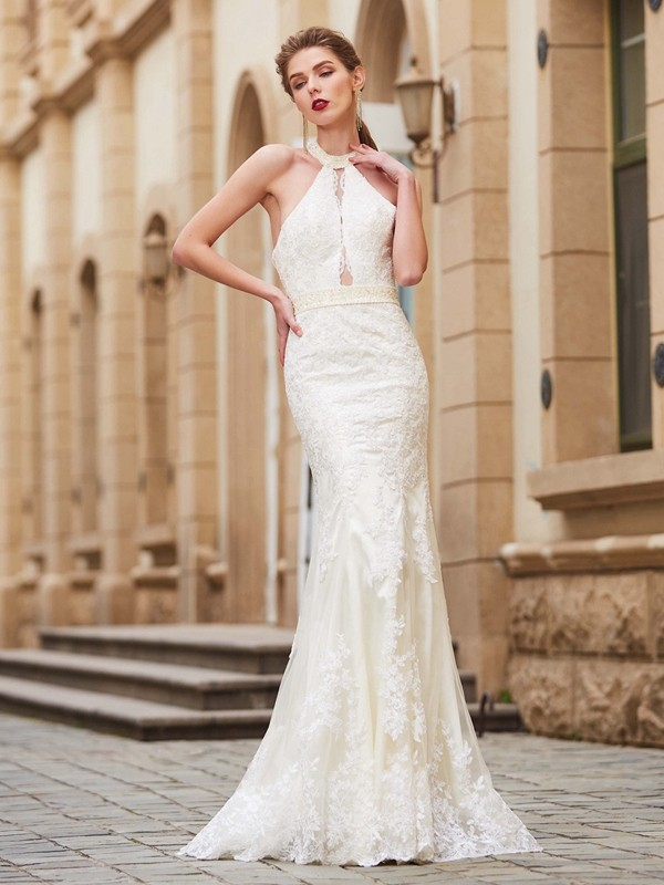Dancing Queen Sheath Style Jewel Floor-Length Applique Lace Dresses