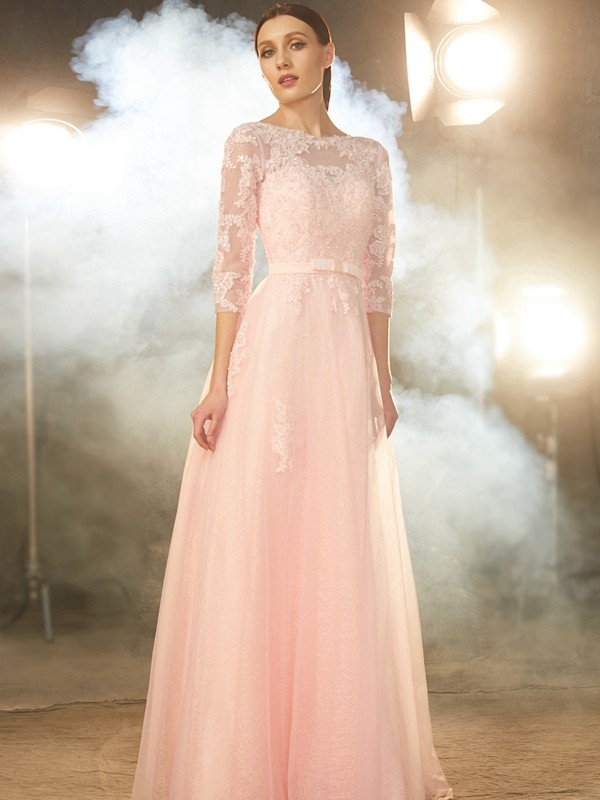 Dancing Queen Princess Style Bateau Floor-Length Applique Tulle Dresses