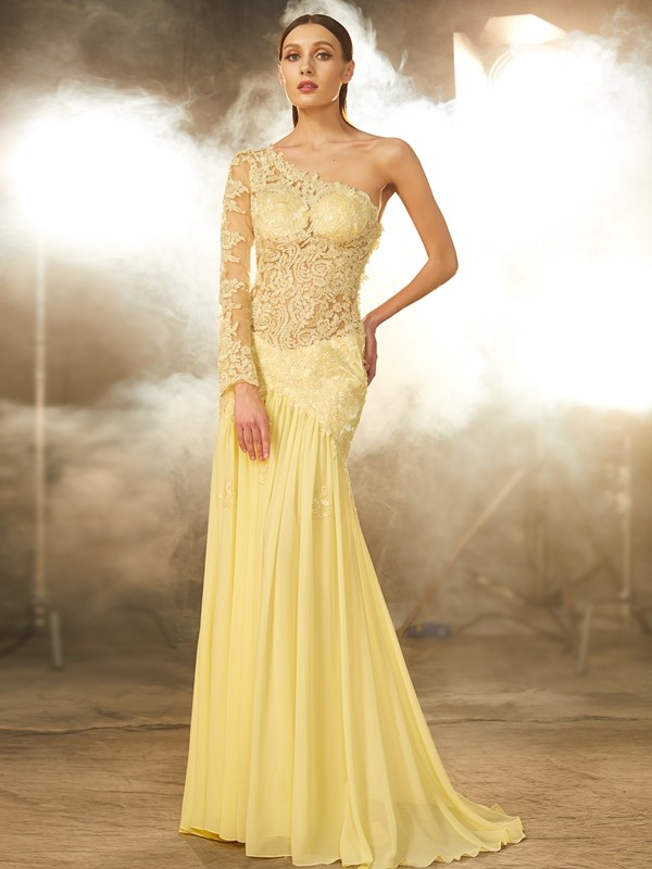 Vibrant Stylist Sheath Style One-Shoulder Lace Sweep/Brush Train Chiffon Dresses