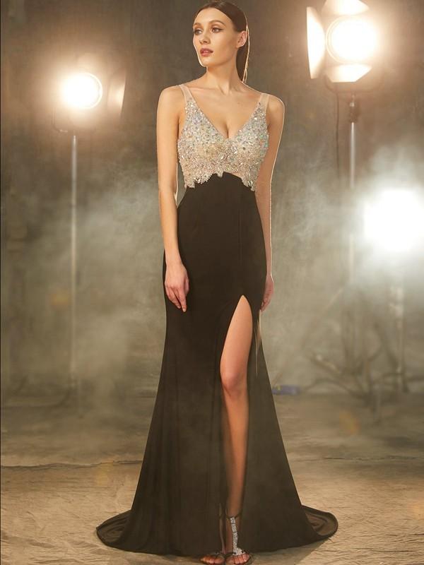 Romantic Vibes Sheath Style V-neck Beading Sweep/Brush Train Spandex Dresses