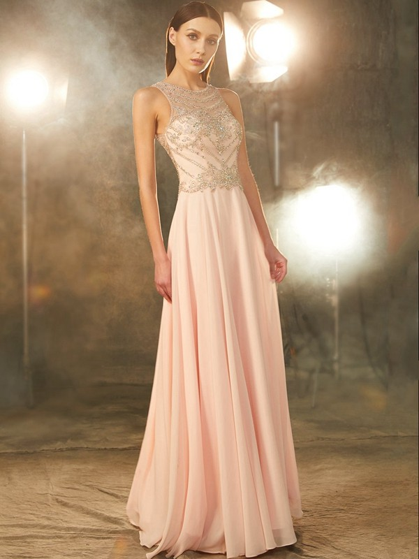 Defined Shine Princess Style Scoop Chiffon Crystal Floor-length Dresses