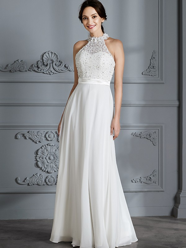 Dashing Darling Princess Style Scoop Floor-Length Chiffon Wedding Dresses
