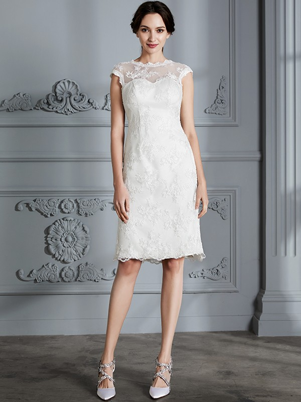 Befits Your Brilliance Princess Style Scoop Knee-Length With Lace Satin Wedding Dresses
