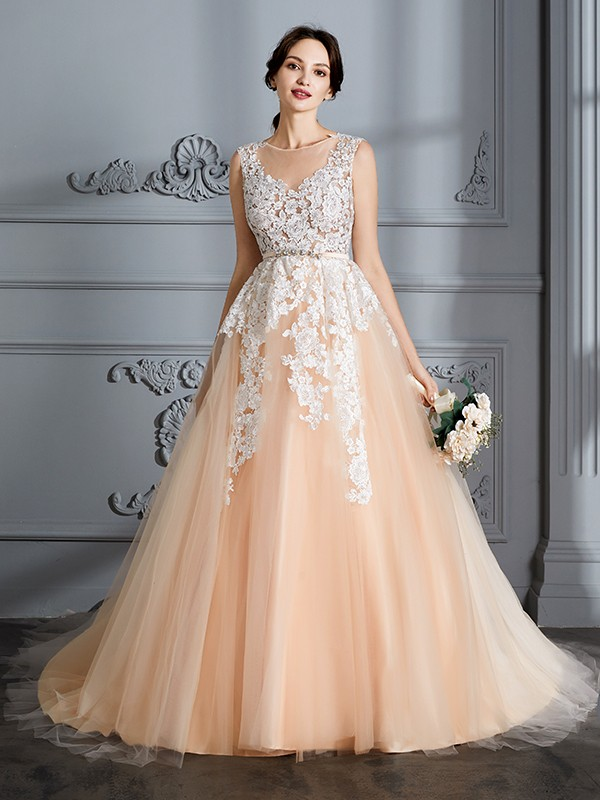 Glitz the Spot Ball Gown Scoop Court Train Tulle Wedding Dresses