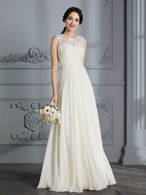 Limitless Looks Princess Style Scoop Chiffon Floor-Length Wedding Dresses