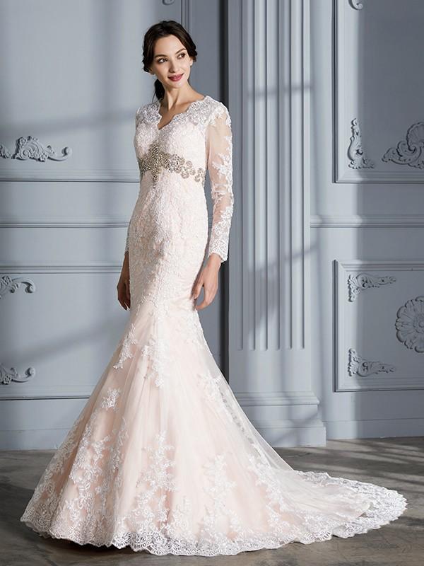 Desired Spotlight Mermaid Style V-Neck Beading Sweep/Brush Train Tulle Lace Wedding Dresses