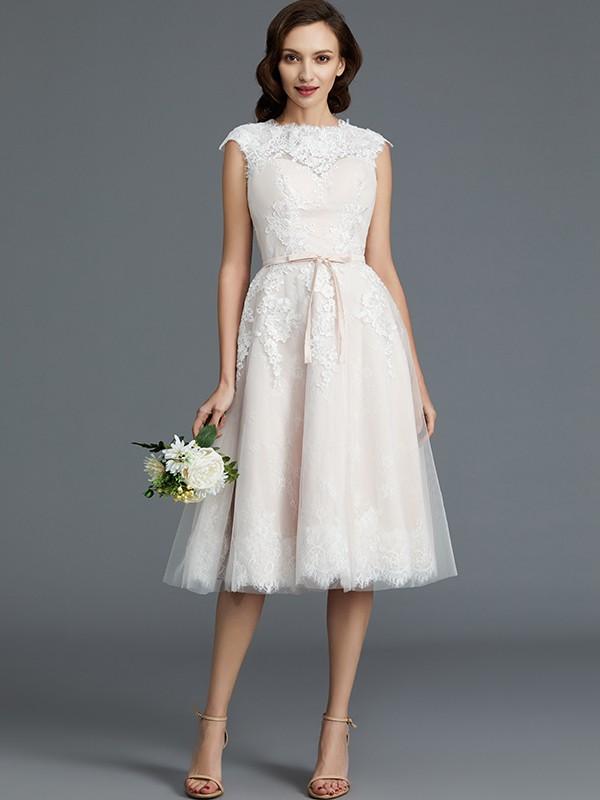 Eye-Catching Charm Princess Style Bateau Knee-Length Tulle Wedding Dresses