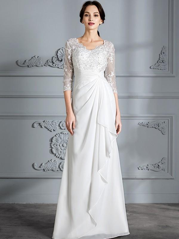 Intuitive Impact Sheath Style/Column V-neck Chiffon Floor-Length Wedding Dresses