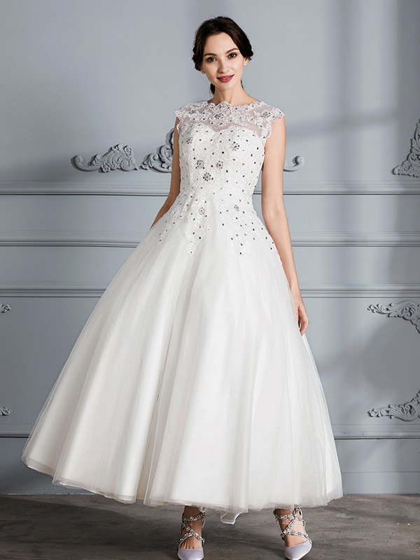 Absolute Lovely Ball Gown Scoop Tea-Length Tulle Wedding Dresses