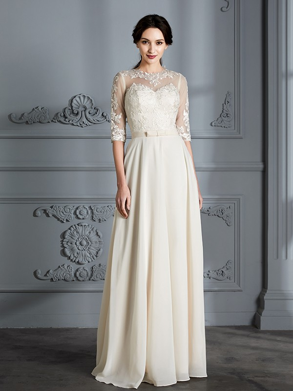 Pleasant Emphasis Princess Style Scoop Floor-Length Chiffon Wedding Dresses