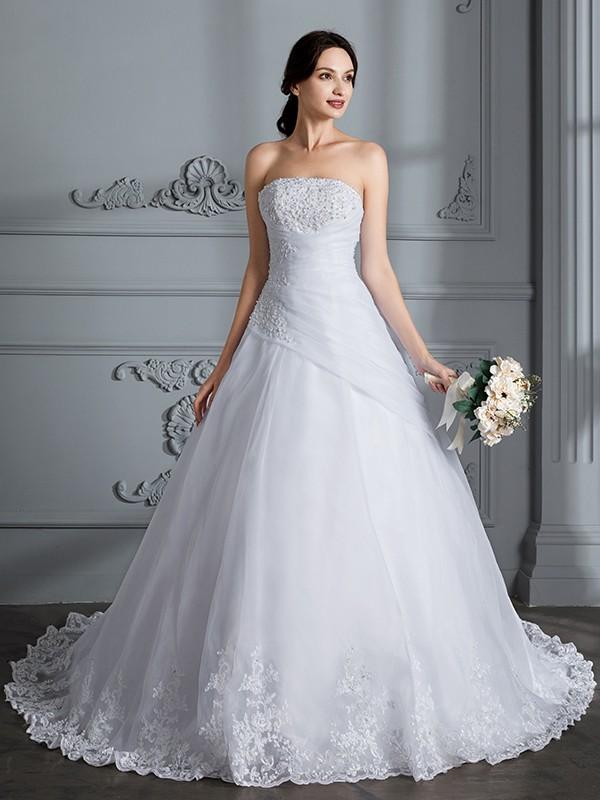 Chic Chic London Ball Gown Strapless Court Train Organza Wedding Dresses
