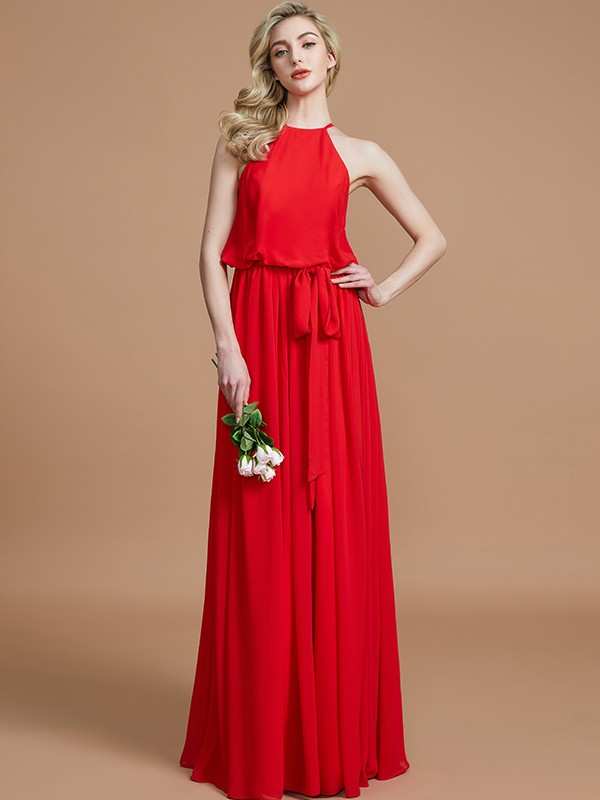 Fresh Picks Princess Style Halter With Sash/Ribbon/Belt Floor-Length Chiffon Bridesmaid Dresses