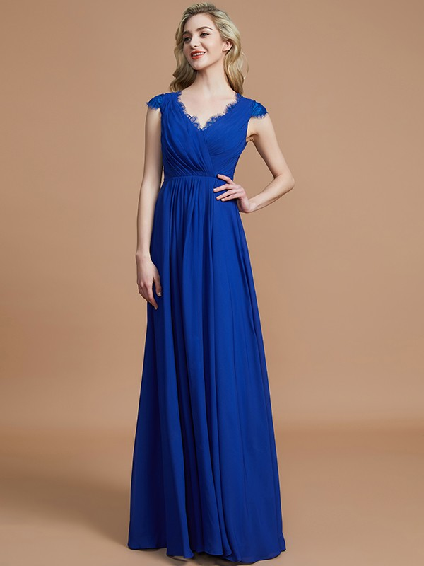 Touch of Texture Princess Style V-neck With Ruched Floor-Length Chiffon Bridesmaid Dresses