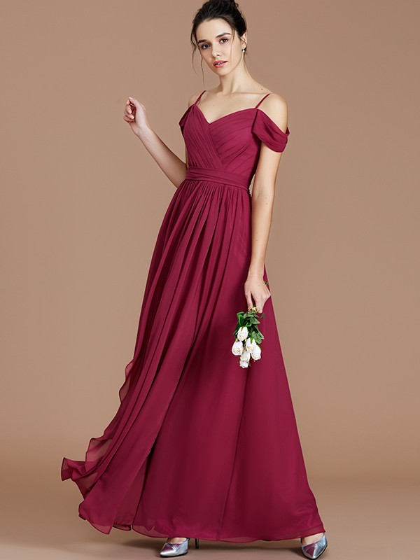 Sweet Sensation Princess Style Off-the-Shoulder With Ruched Floor-Length Chiffon Bridesmaid Dresses