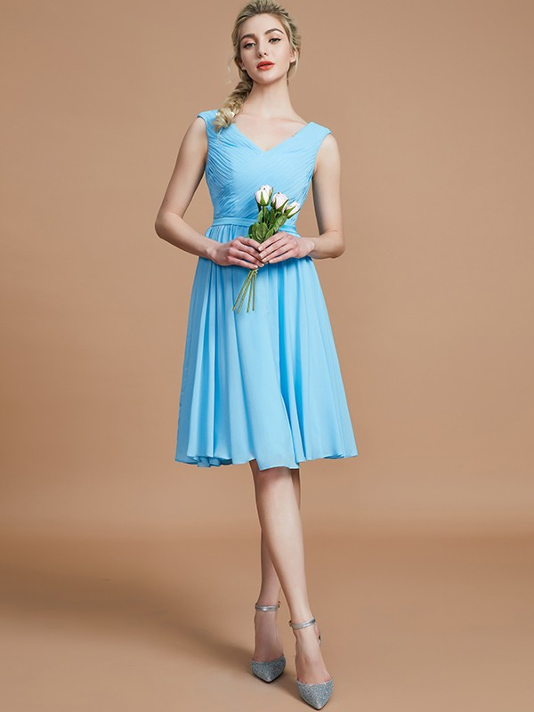 Befits Your Brilliance Princess Style V-neck With Ruched Short/Mini Chiffon Bridesmaid Dresses