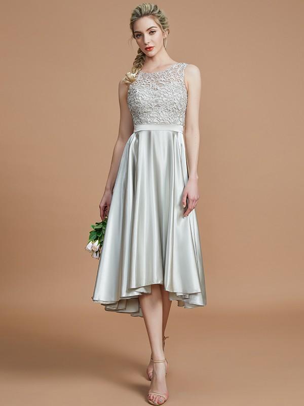 Glitz the Spot Princess Style Bateau With Ruffles Asymmetrical Silk like Satin Bridesmaid Dresses