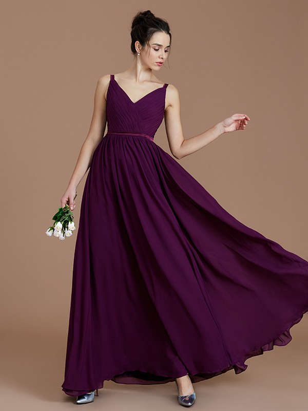 Visual Moment Princess Style V-neck With Ruched Floor-Length Chiffon Bridesmaid Dresses