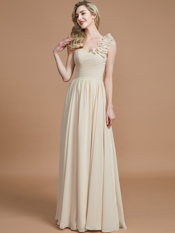 Pleasant Emphasis Princess Style One-Shoulder Floor-Length Chiffon Bridesmaid Dresses