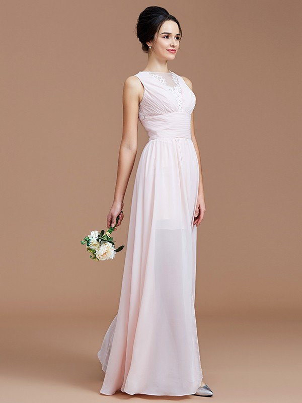 Cheerful Spirit Princess Style Jewel With Ruched Floor-Length Chiffon Bridesmaid Dresses