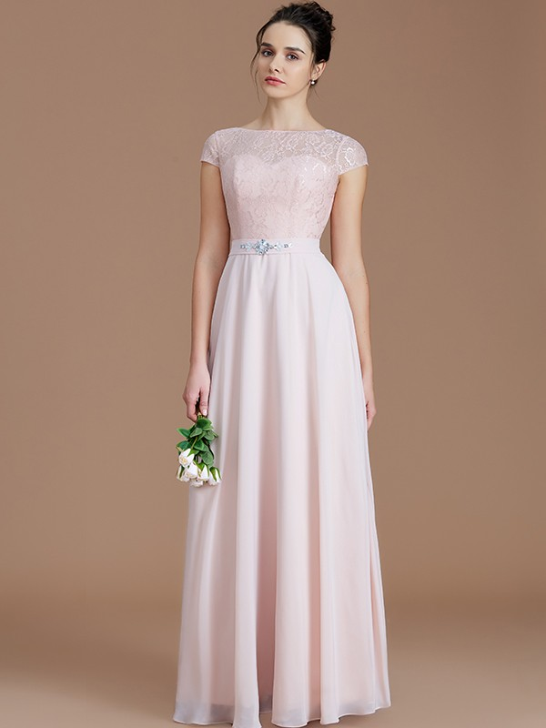 Too Much Fun Princess Style Bateau With Lace Floor-Length Chiffon Bridesmaid Dresses