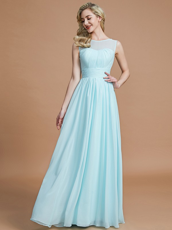 Time to Shine Princess Style Scoop Floor-Length Chiffon Bridesmaid Dresses