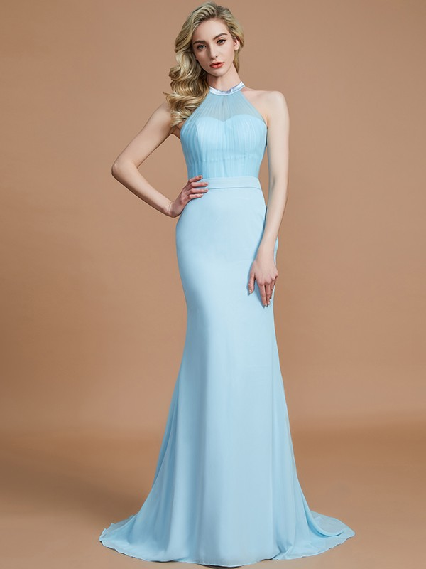 Treasured Reveries Mermaid Style Scoop Sweep/Brush Train Chiffon Bridesmaid Dresses