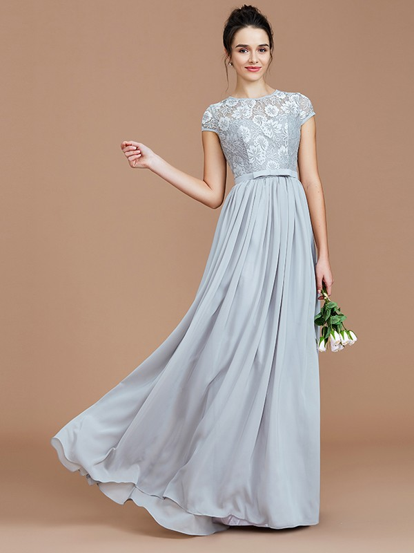 Open to Adoration Princess Style Jewel With Lace Floor-Length Chiffon Bridesmaid Dresses