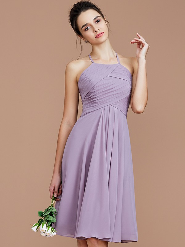 Memorable Magic Princess Style Halter With Ruched Short/Mini Chiffon Bridesmaid Dresses