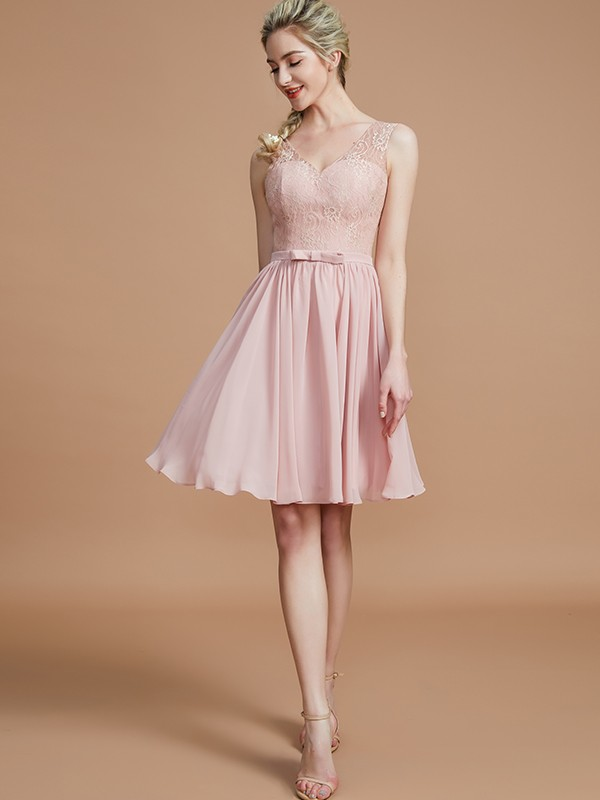 Dashing Darling Princess Style V-neck With Lace Short/Mini Chiffon Bridesmaid Dresses