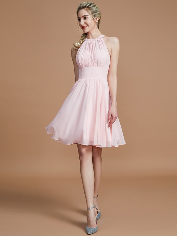 Absolute Lovely Princess Style Chiffon Knee-Length Scoop Bridesmaid Dresses