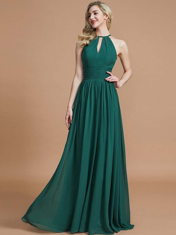 Pleasant Emphasis Princess Style Chiffon Scoop Floor-Length Bridesmaid Dresses