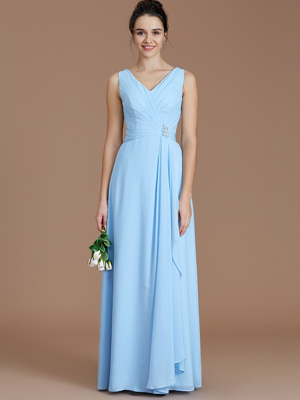 Just My Style Princess Style V-neck With Ruched Floor-Length Chiffon Bridesmaid Dresses