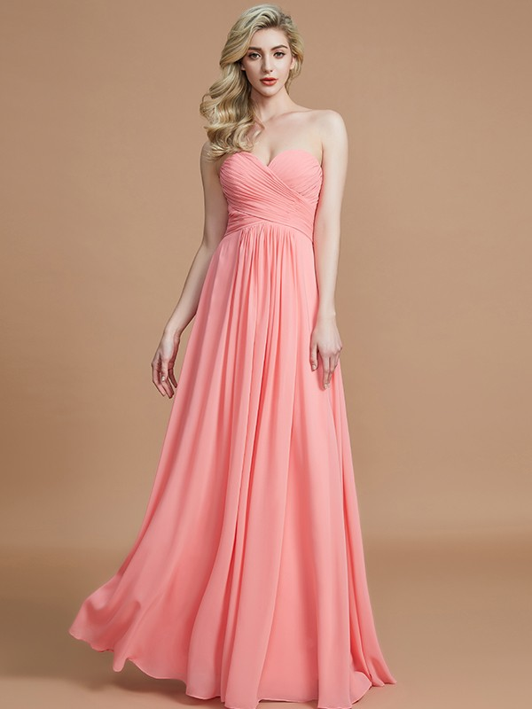 Desired Spotlight Princess Style Sweetheart Floor-Length Chiffon Bridesmaid Dresses