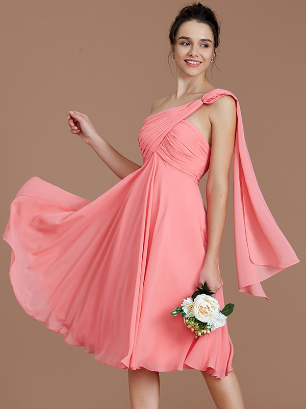 Romantic Vibes Princess Style One-Shoulder With Ruched Short/Mini Chiffon Bridesmaid Dresses