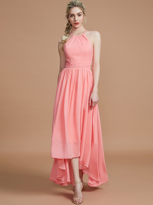 Cordially Delighted Princess Style Halter Asymmetrical Chiffon Bridesmaid Dresses
