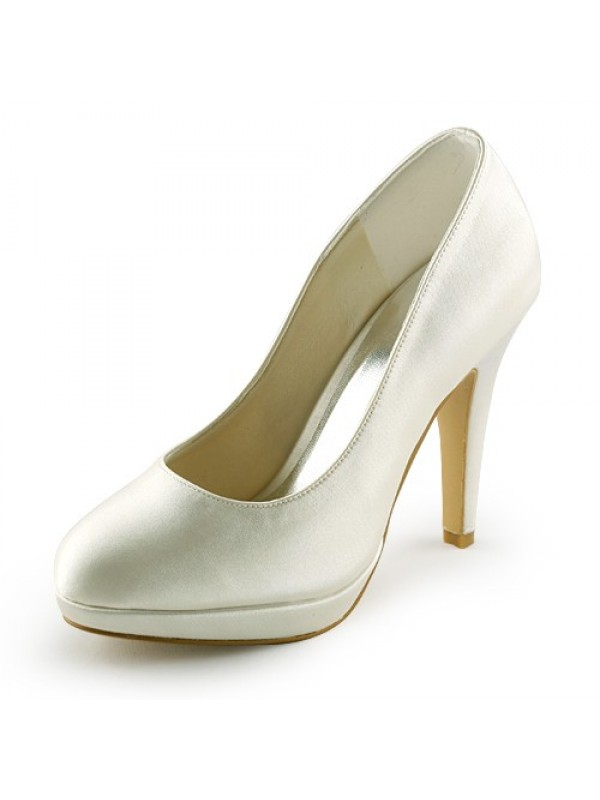 Women's Beautiful Satin Stiletto Heel Closed Toe Platform Ivory Wedding Shoes