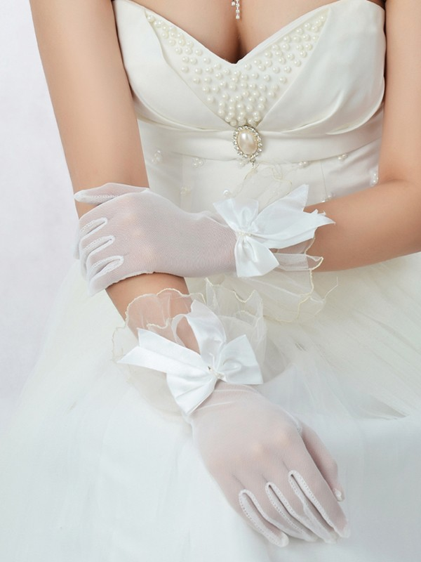 Best Tulle Bowknot Wedding Gloves