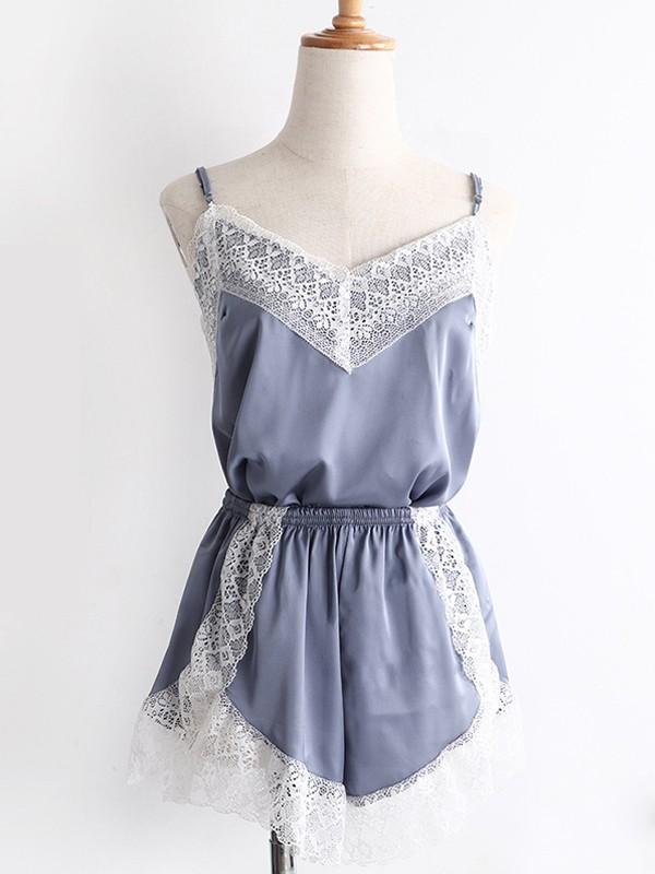 Lovely Silk like Satin With Lace Pajamas