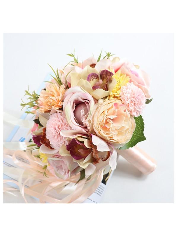 Elegant Round Silk Flower Bridal Bouquets