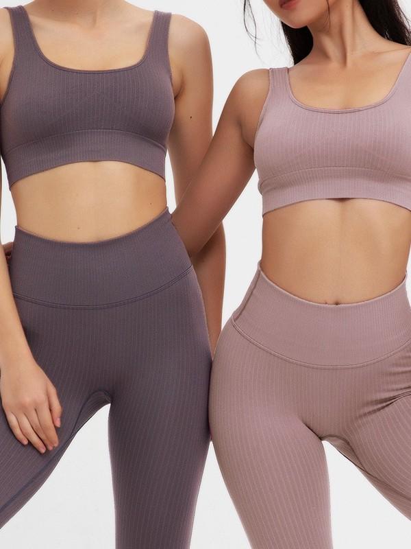 Elegant Cotton Yoga Sports Bra&Leggings