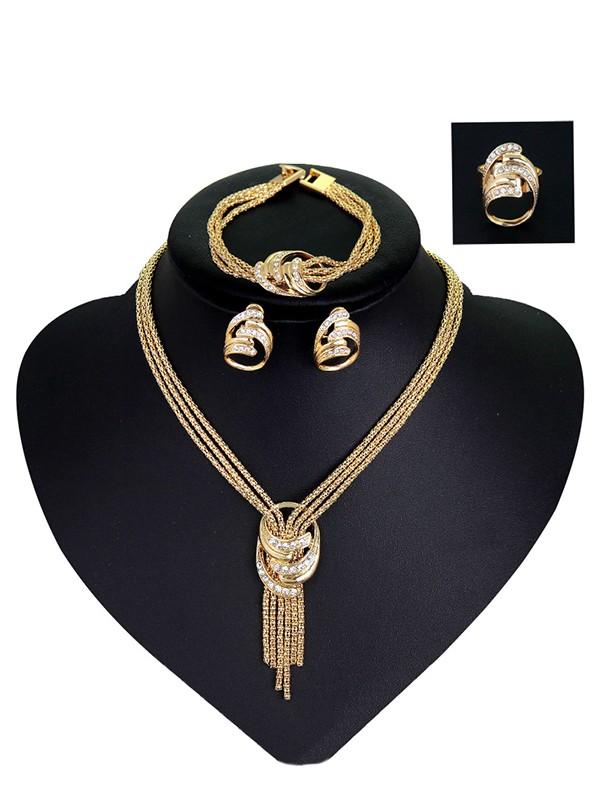 Fancy Alloy With Rhinestone Jewelry Set For Women