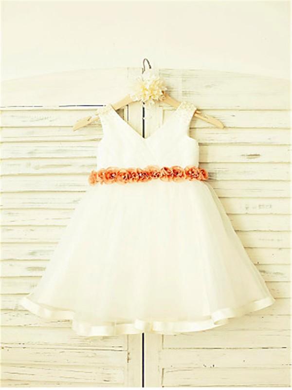 A-line/Princess V-neck Sleeveless Hand-made Flower Tea-Length Tulle Flower Girl Dresses
