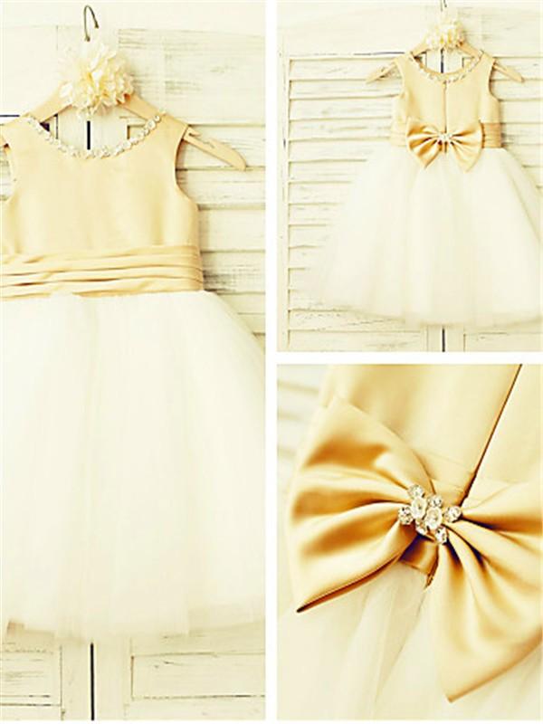 Glitz the Spot Princess Style Scoop Bowknot Tea-Length Tulle Flower Girl Dresses